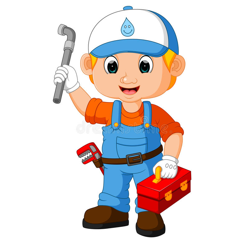 Cartoon cute plumber boy royalty free illustration