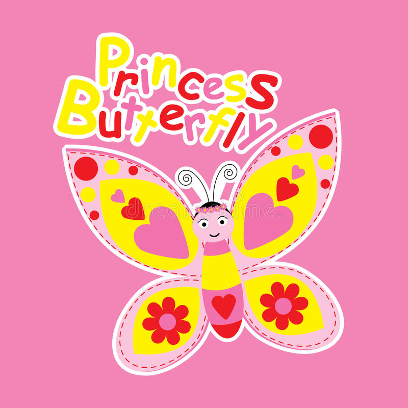 Cartoon of cute princess butterfly. Suitable for spring postcard, kid t-shirt, and greeting card vector illustration