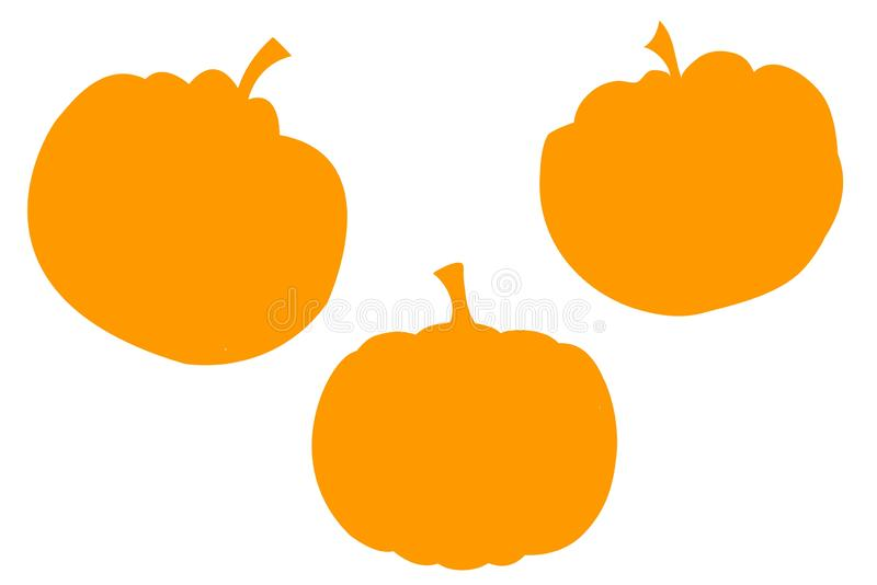 Cartoon cute pumpkins set on white background. royalty free stock images