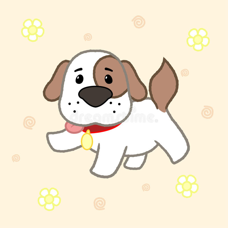 Cartoon cute puppy, drawing for kids.Vector illustration.  royalty free illustration