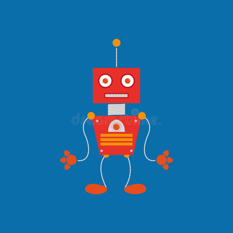 Cartoon Cute Robot Isolated On Background. Vector Cartoon Cute Robot Isolated On Background vector illustration