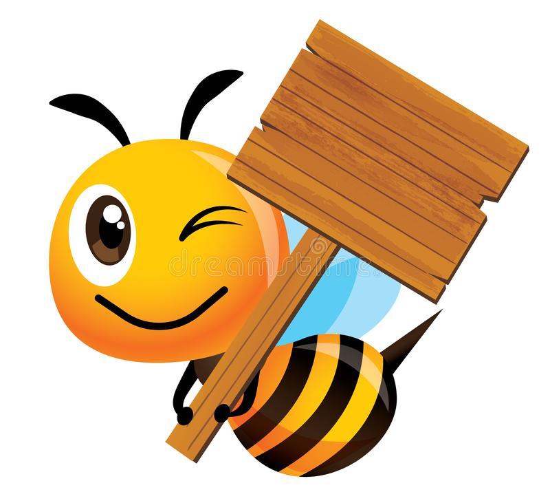 Cartoon cute smiling bee mascot holding a big wooden signboard. Vector mascot isolated royalty free illustration