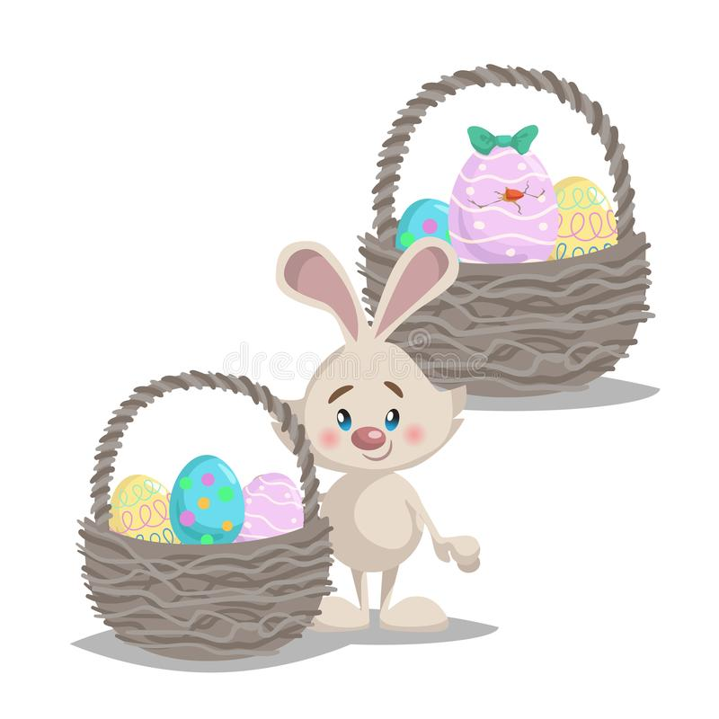 Cartoon cute smiling easter bunny with big basket and painted colorful eggs. Hatched easter egg. vector illustration