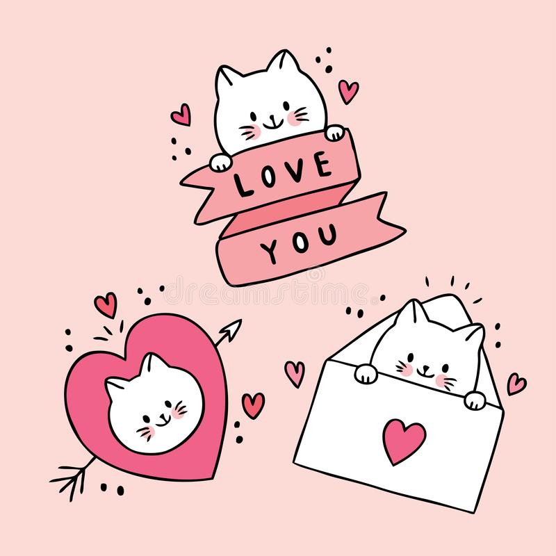 Cartoon cute Valentines day white cats and doodle love vector. stock photos