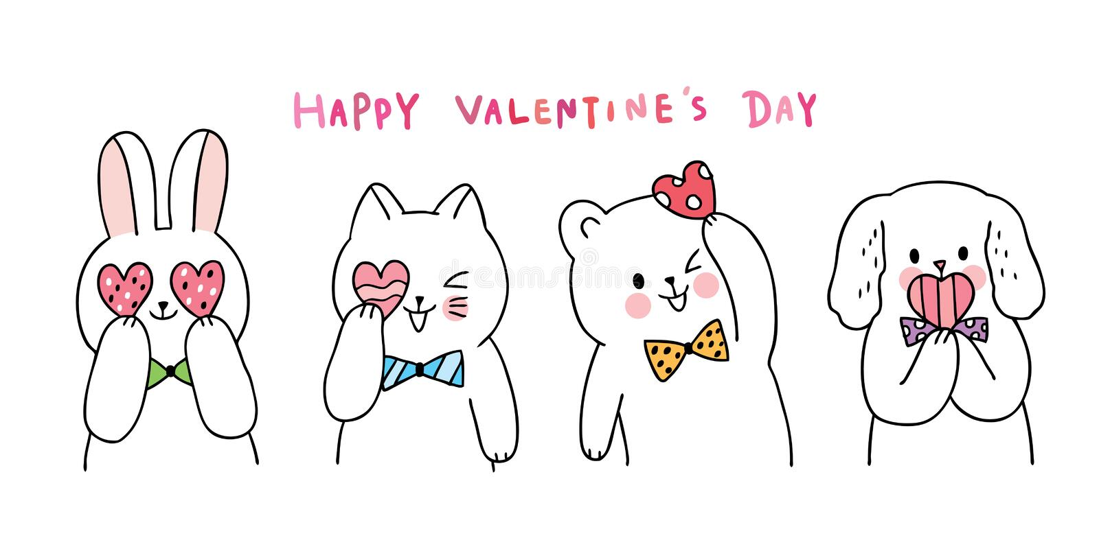 Cartoon cute Valentines day  cat and rabbit and dog and bear and hearts vector. royalty free stock images