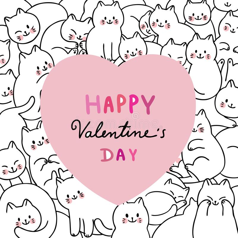 Cartoon cute Valentines day white cats and big heart vector. stock photography
