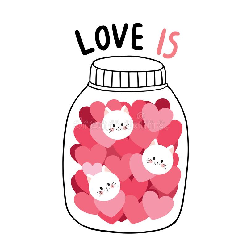 Cartoon cute Valentines day white cats and many hearts in Glass bottle vector. stock photos