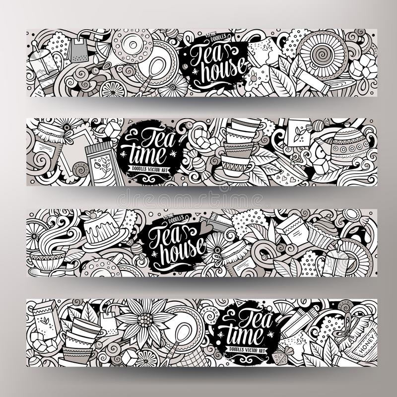Cartoon cute vector hand drawn doodles Pizzeria banners stock illustration