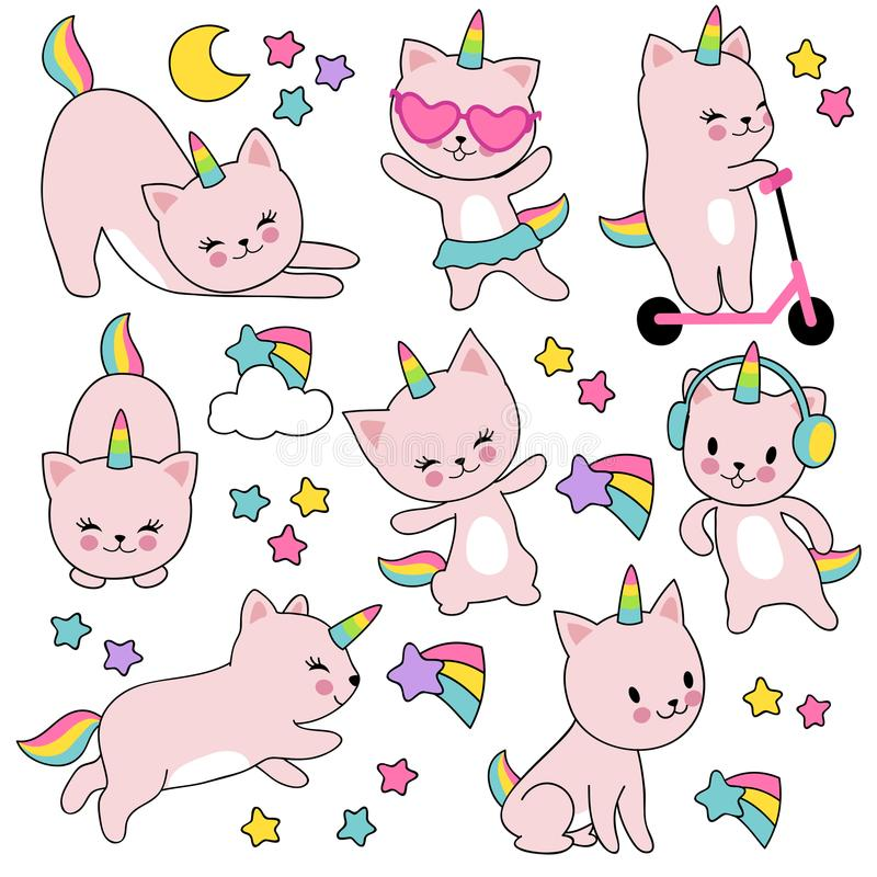 Cartoon cute white cat unicorns. Funny caticorn kittens vector set stock illustration