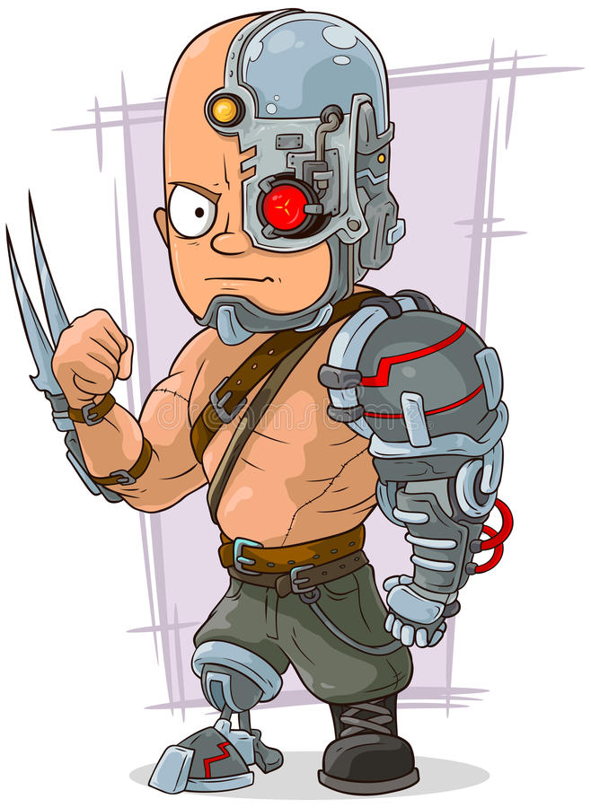Cartoon cyborg with cool metal details royalty free illustration