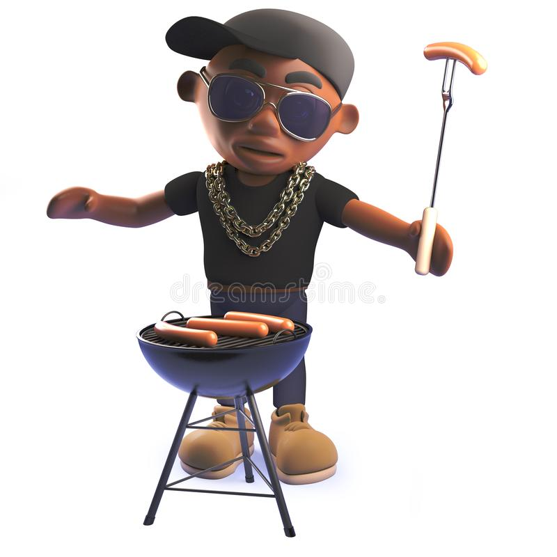 Cartoon 3d African American hiphop rapper cooking a bbq barbecue. Rendered 3d image of a cartoon 3d African American hiphop rapper cooking a bbq barbecue vector illustration