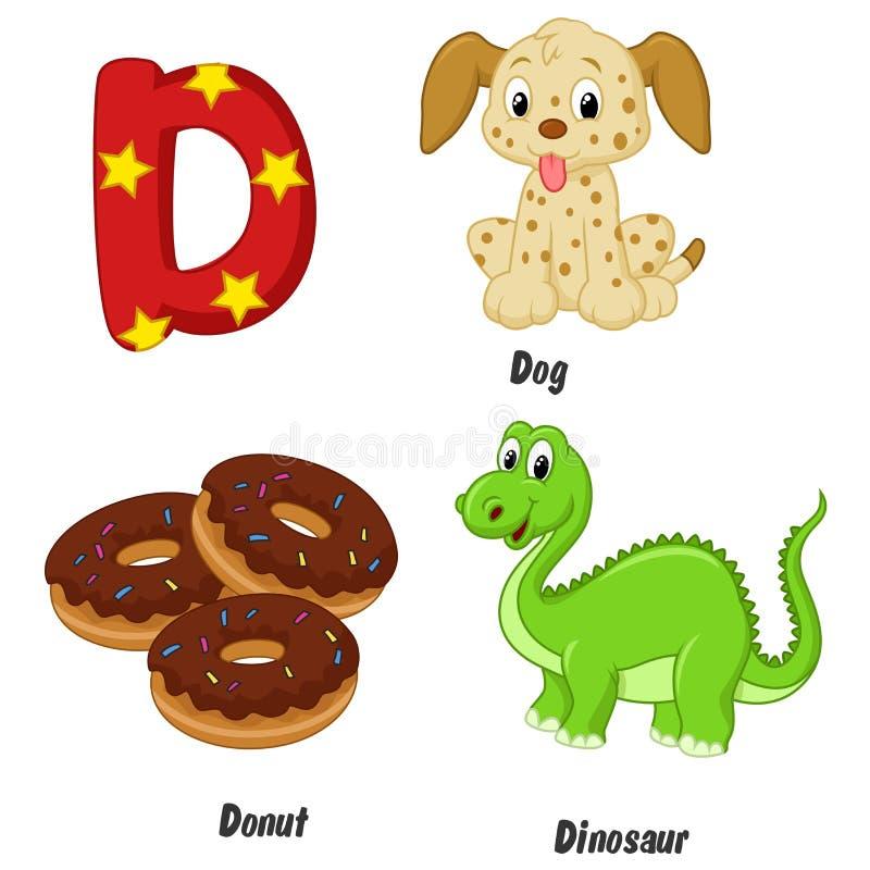 Cartoon D alphabet royalty free illustration