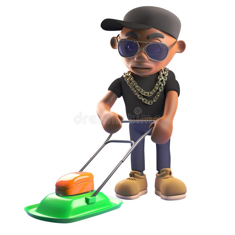 Cartoon 3d black hiphop rapper character in baseball cap mowing the lawn with a lawnmower, 3d illustration. Render royalty free illustration