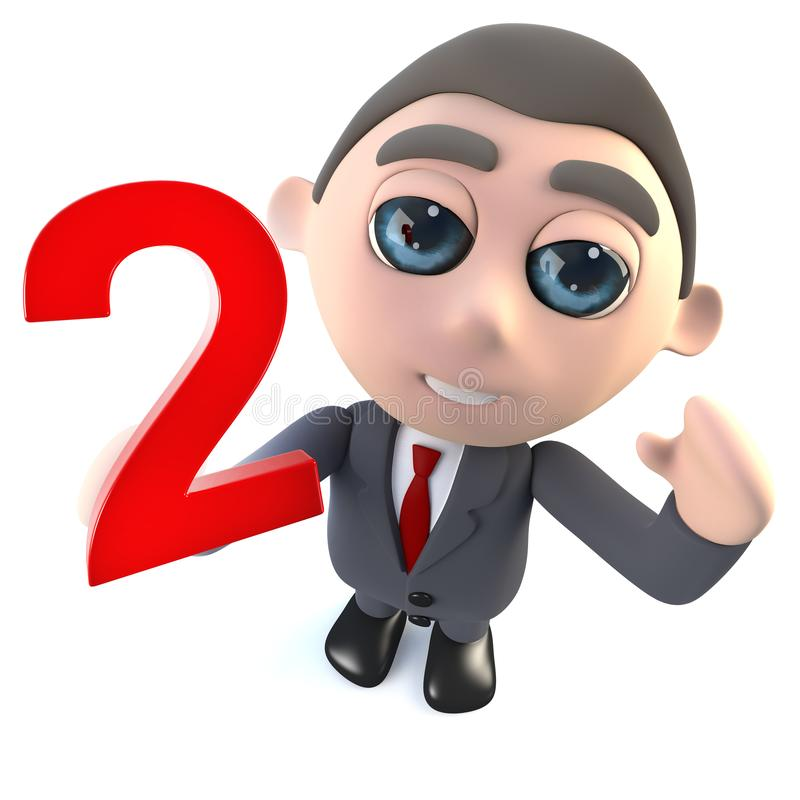Cartoon 3d businessman holding the number two stock illustration