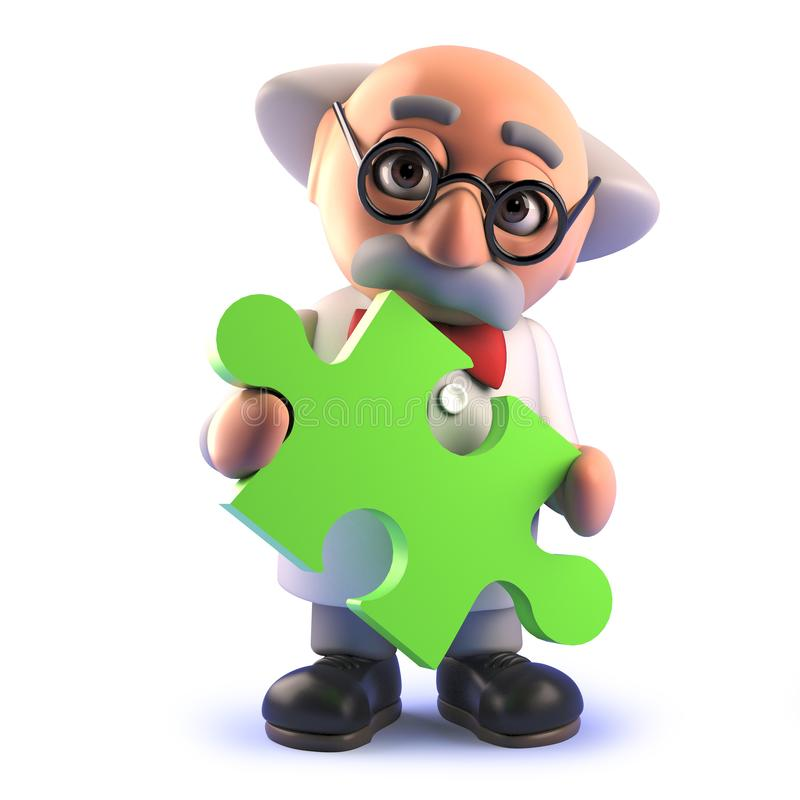Cartoon 3d mad scientist character holding a piece of a jigsaw puzzle. Rendered 3d image of a cartoon 3d mad scientist character holding a piece of a jigsaw vector illustration