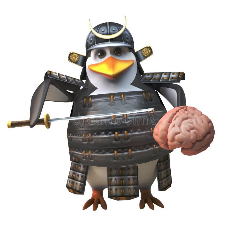 Cartoon 3d penguin samurai warrior character holding a brain and katana sword, 3d illustration vector illustration