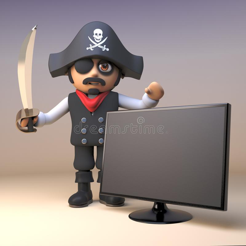 Cartoon 3d pirate captain character with sword stands by a widescreen flatscreen tv monitor, 3d illustration. Render stock illustration