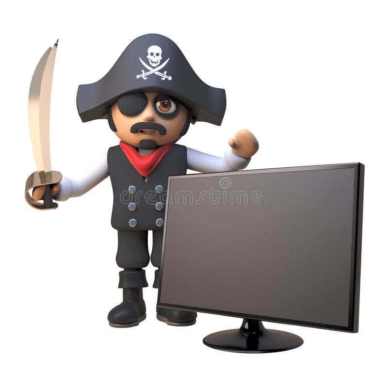 Cartoon 3d pirate captain character waves his cutlass next to a widescreen hdtv television monitor, 3d illustration. Render stock illustration