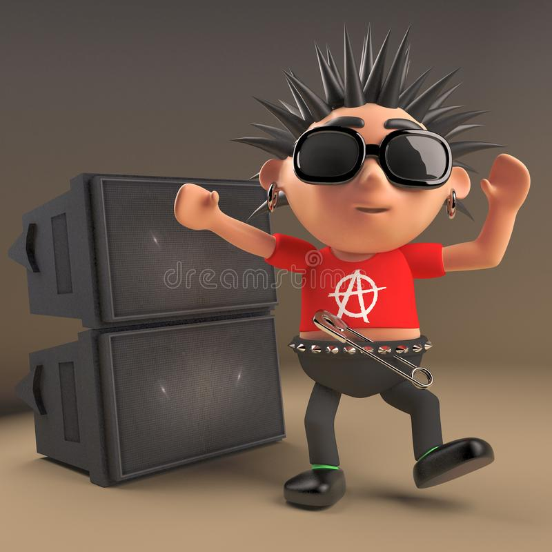 Cartoon 3d punk rock teenager with spiky hair dancing in front of a pa sound system speaker stack at a rave, 3d illustration royalty free illustration