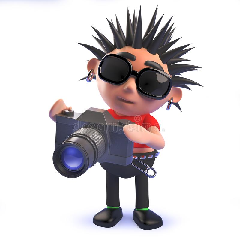 Cartoon 3d punk rocker character taking pictures with a camera. Rendered 3d image of a cartoon 3d punk rocker character taking pictures with a camera royalty free illustration