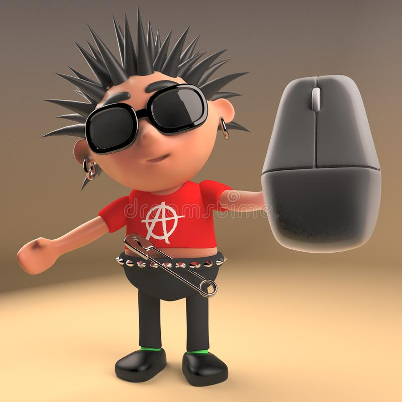 Cartoon 3d punk rocker with spikey hair holding a computer mouse, 3d illustration. Render stock illustration
