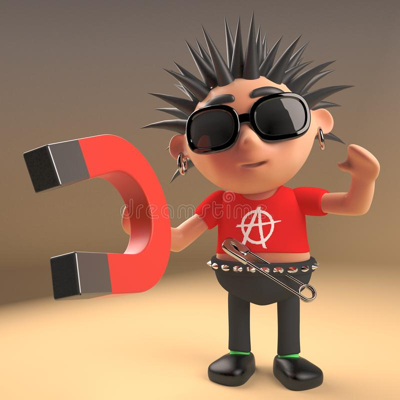 Cartoon 3d punk rocker with spikey hair plays with a magnet, 3d render. Illustration stock illustration