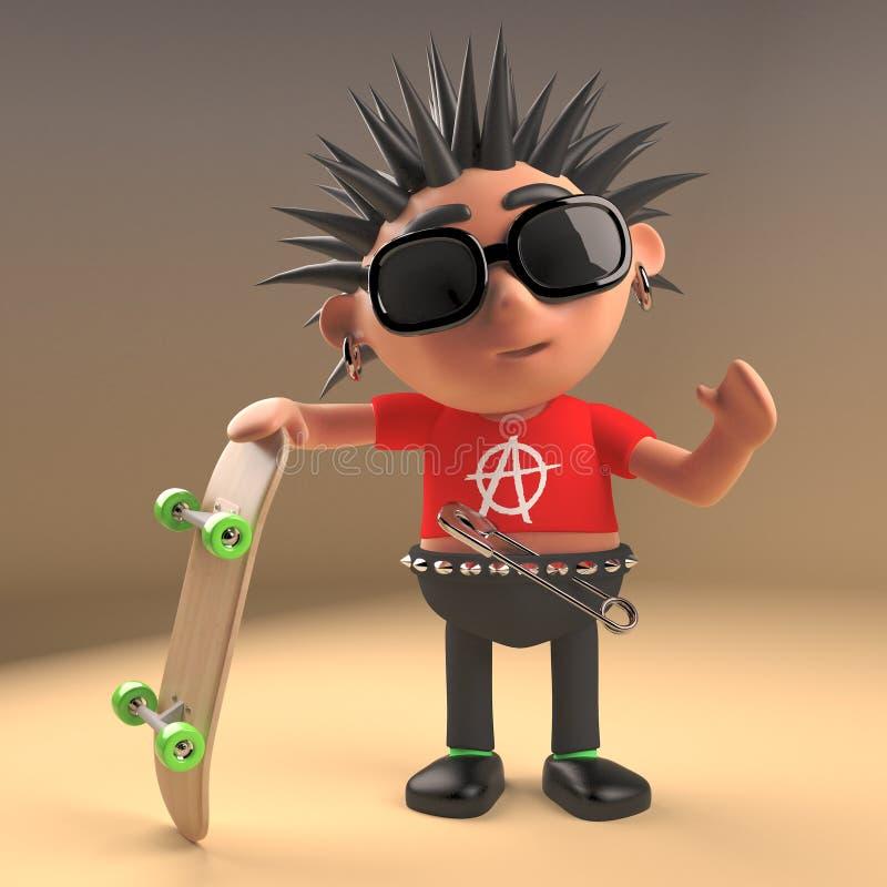 Cartoon 3d punk rocker teenage character holding a blank banner 3d illustration stock illustration