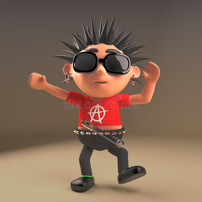 Cartoon 3d punk rocker teenage character holding a blank banner 3d illustration royalty free illustration