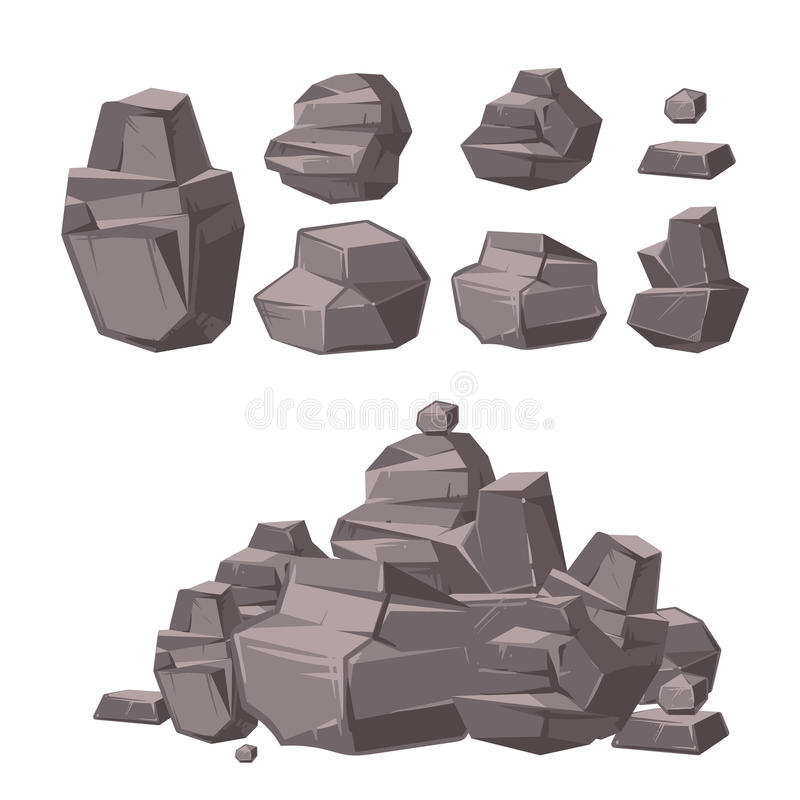 Cartoon 3d rock, granite stones, stack of boulders vector set, architecture elements for landscaping design vector illustration