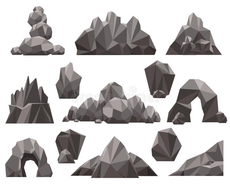 Cartoon 3d rock and stone set vector illustration
