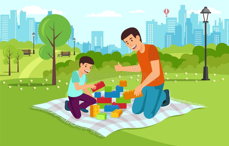 Cartoon dad with son in park collect constructor. The city in the background.Vector flat illustration royalty free illustration
