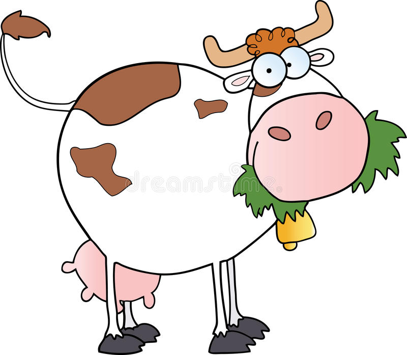 Cartoon Dairy Cow. Cartoon character of dairy cow eating grass vector illustration