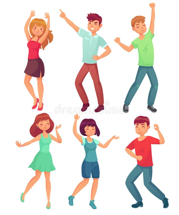 Cartoon dancing people. Happy dance of excited teenager, young women men character at party. Celebrating dances vector vector illustration