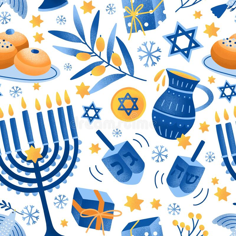 Cartoon decorative elements of Jewish holiday Hanukkah seamless pattern. Colorful Menorah candles, David star and flying. Dove vector flat illustration. Various stock illustration