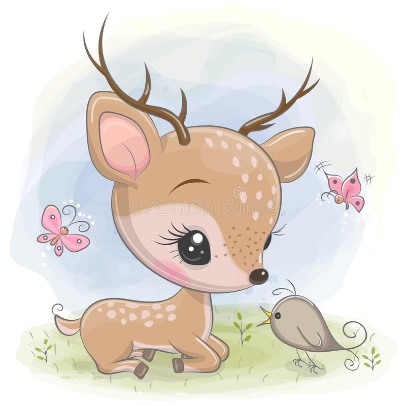 Free Cartoon Deer With Bird On The Meadow Royalty Free Stock Images - 172391049
