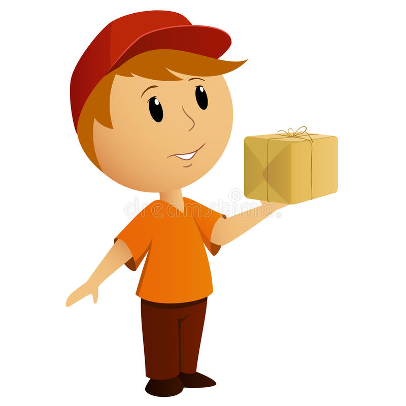 Cartoon delivery boy with package royalty free illustration