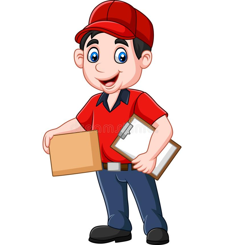 Cartoon delivery courier holding clipboard and cardboard boxes vector illustration