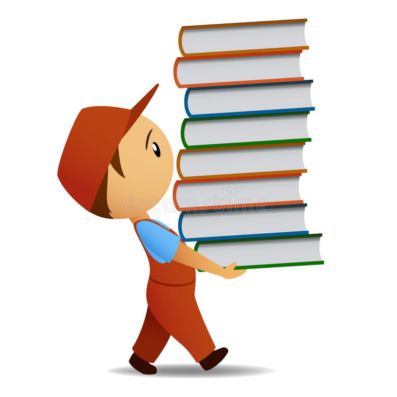 Cartoon delivery man carries the book