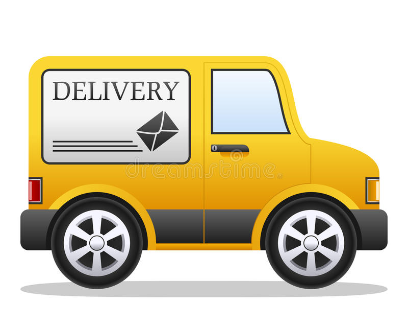 Cartoon Delivery Van. Cartoon yellow delivery van, isolated on white background. Eps file available