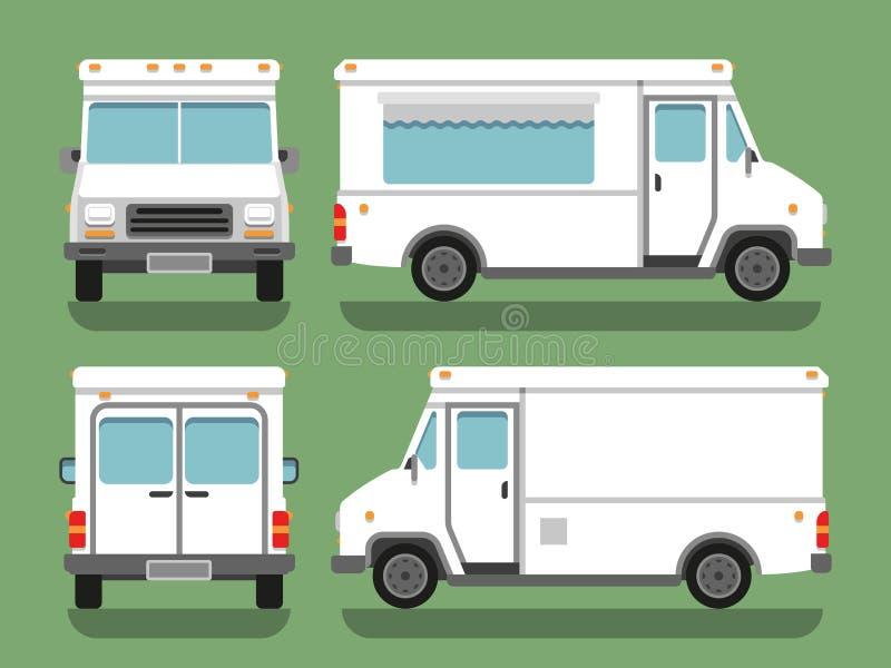 Cartoon delivery white blank food box truck vector mockup. Street food car illustration, transport lorry side front and back vector illustration