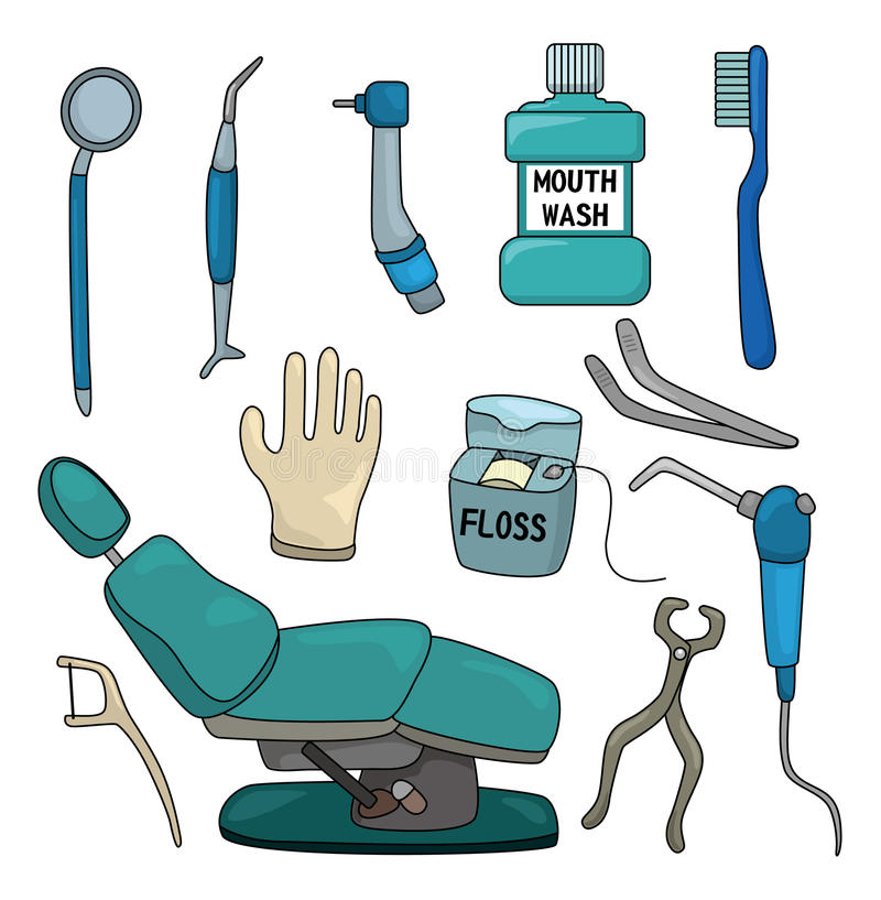 Cartoon Dentist Tool Icon Set Stock Vector - Illustration ...
