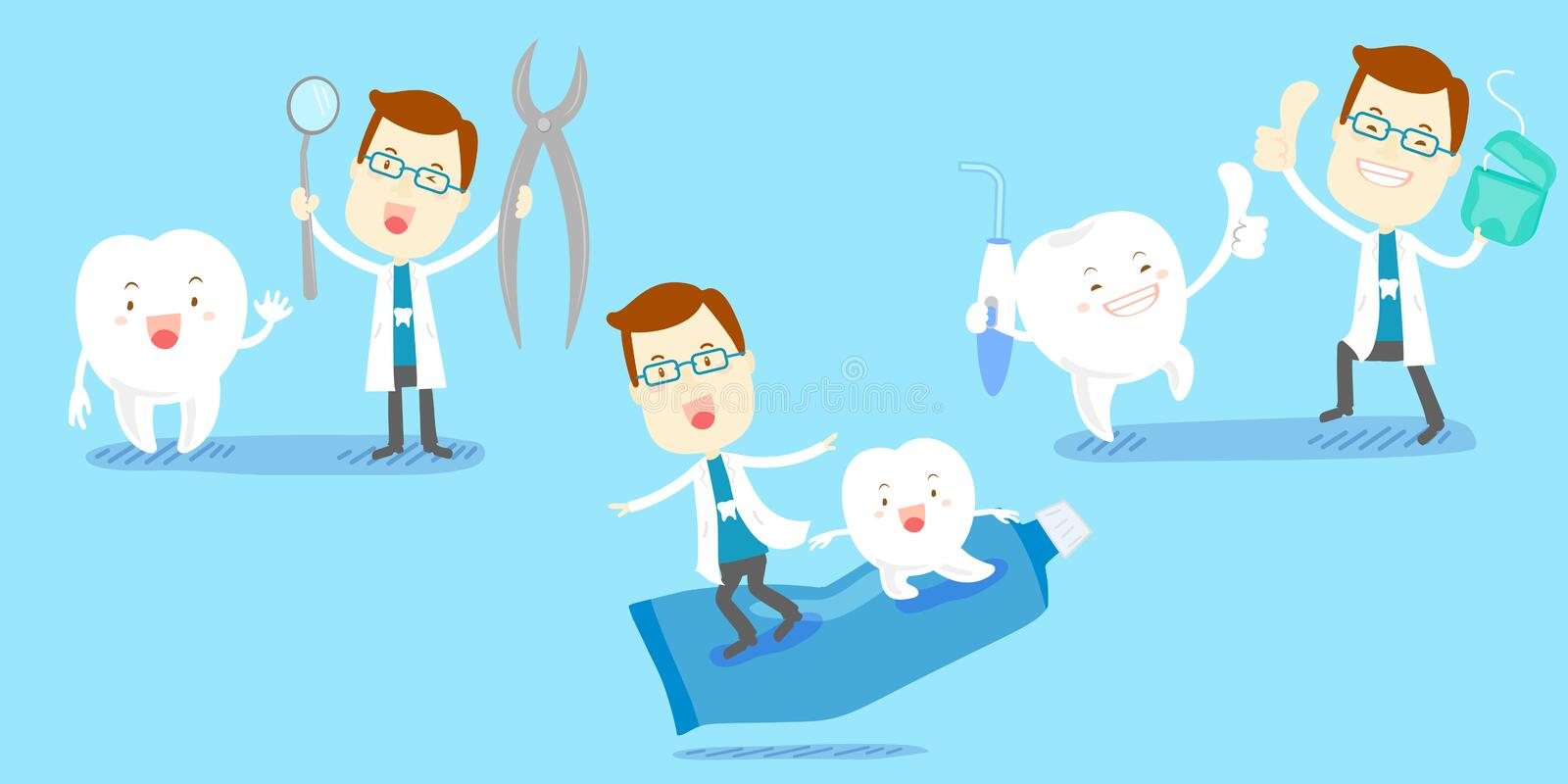 Cartoon dentist with tooth vector illustration