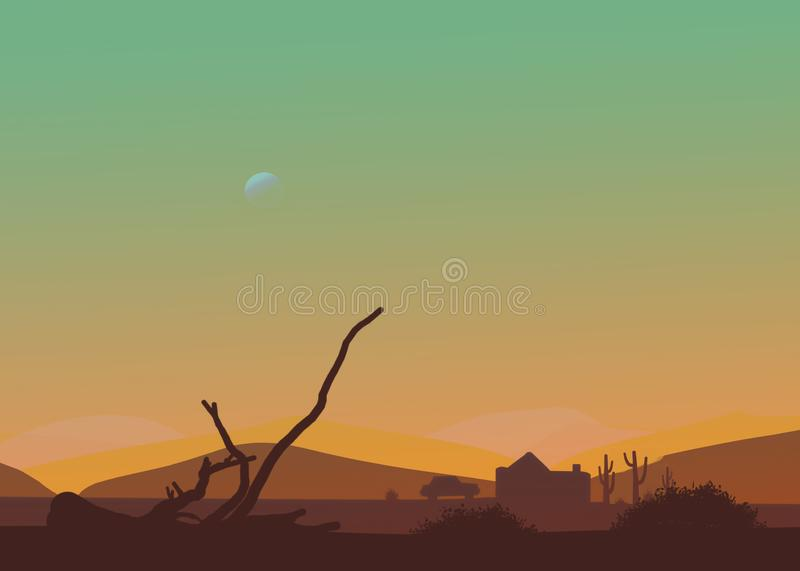 Cartoon western desert afternoon or sunset. Moon in the sky, cactus, hut, car, dry branch royalty free illustration