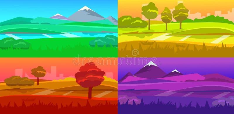 Cartoon desert evening landscape vector illustration