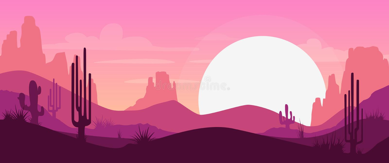 Cartoon desert landscape royalty free illustration
