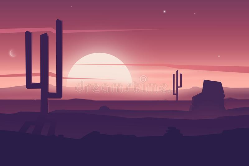 Cartoon desert landscape with cactus, hills silhouettes royalty free illustration
