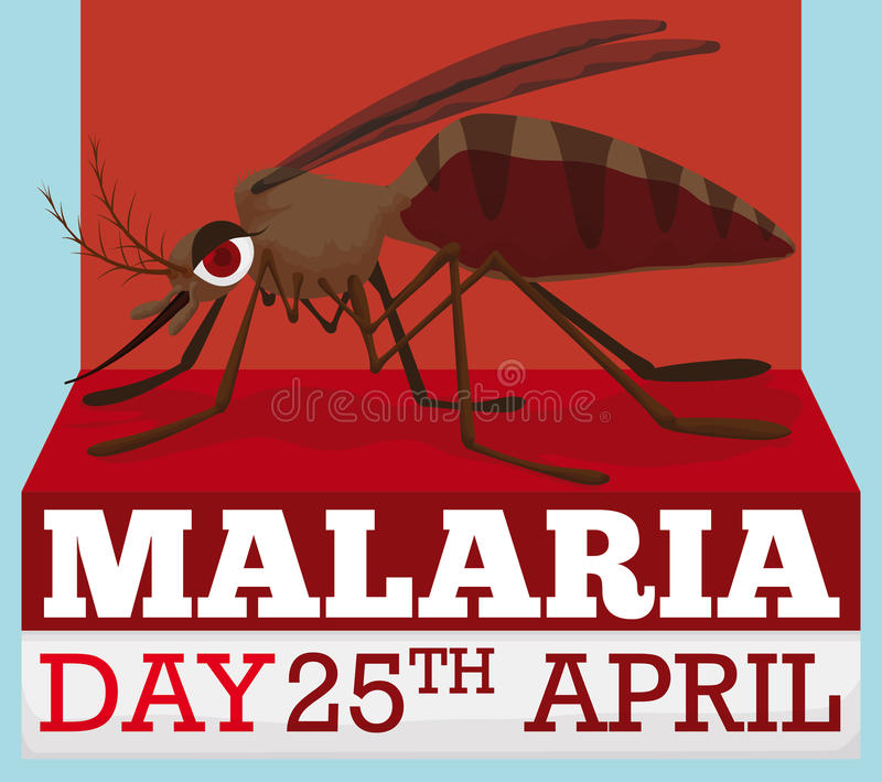 Cartoon Design with Mosquito for World Malaria Day in April, Vector Illustration royalty free illustration
