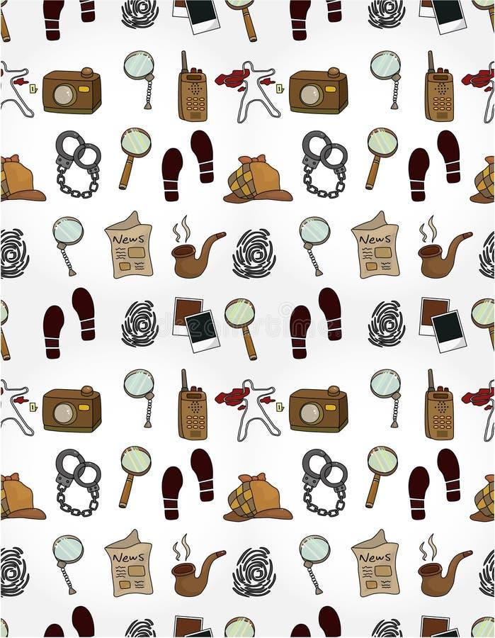 Cartoon detective equipment  seamless pattern