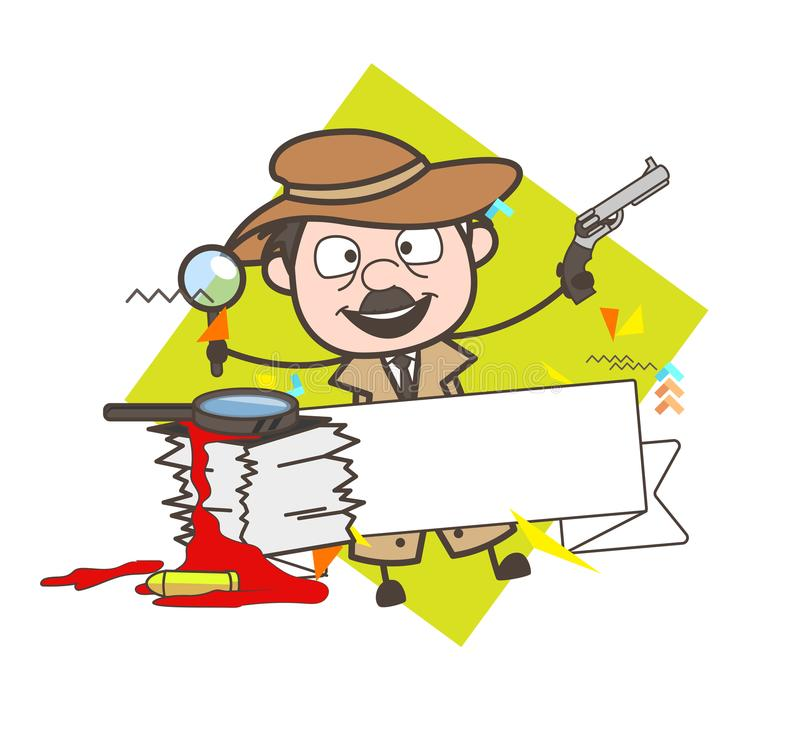 Cartoon Detective Laughing Action Vector Illustration. Design vector illustration