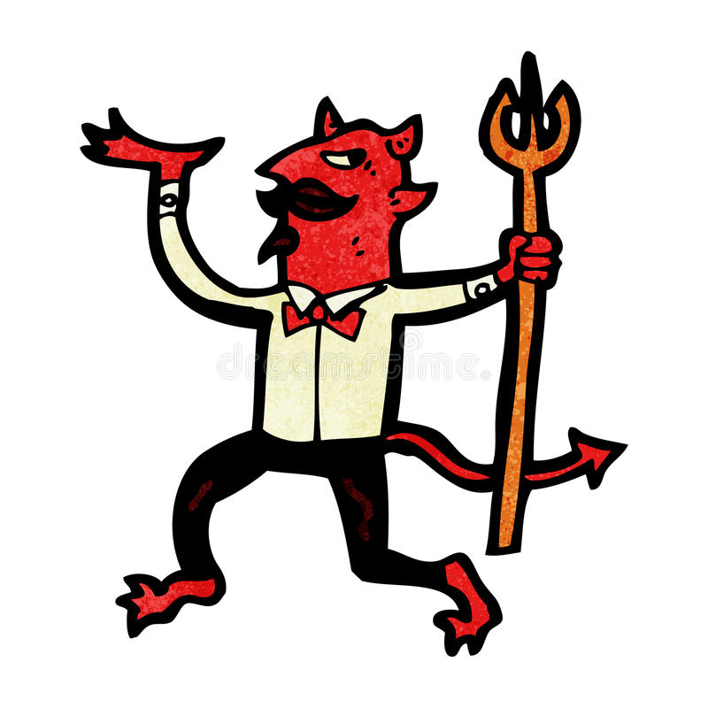 Cartoon Devil With Pitchfork Royalty Free Stock Photography